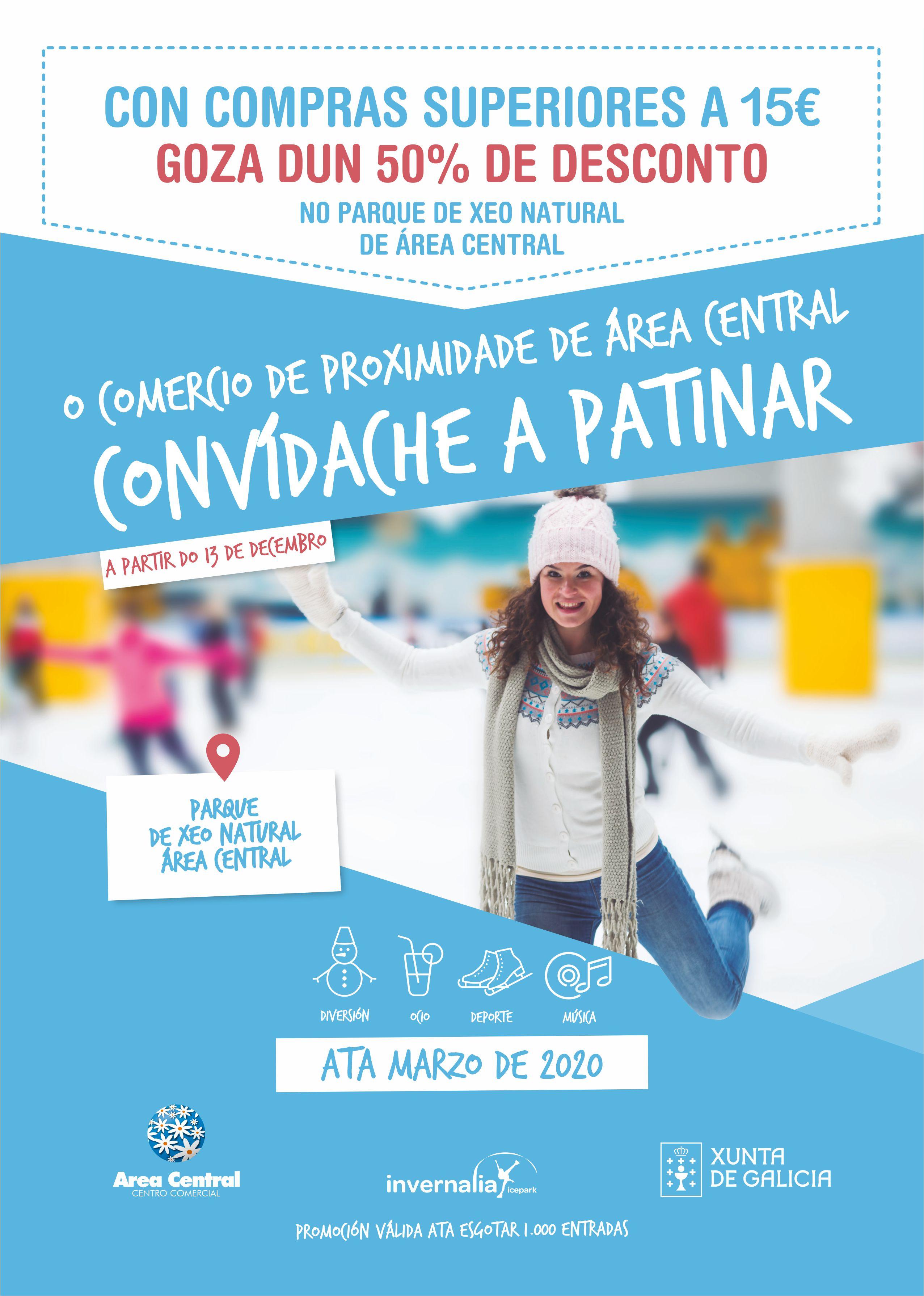 O comercio de proximidade de Area Central convídache a patinar