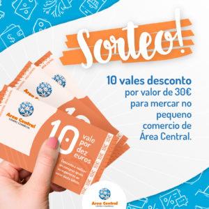 SORTEO DE 10 VALES AGASALLO POR VALOR DE 30€ PARA MERCAR NO PEQUENO COMERCIO DE ÁREA CENTRAL.