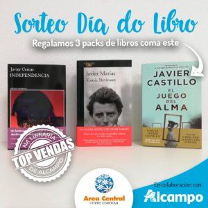 SORTEO DE 3 PACKS COS TRES LIBROS TOP VENDAS NA LIBRARÍA DE ALCAMPO